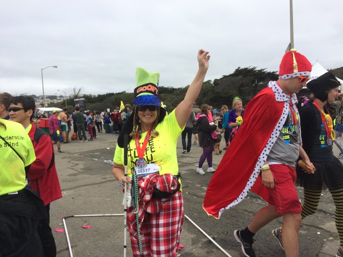 Alicia Torres, dressed in a wildly colored costumed, at this year's Bay to Breakers