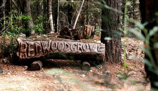 Words Redwood engraved on a log of redwood tree at the entrance of theater in Enchanted Hills Retreat